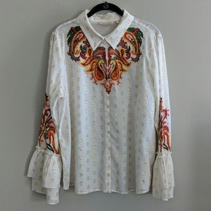 Soft Surroundings Shirt Embroidered Paisley XL